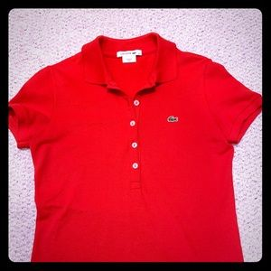 Lacoste Red Preppy Ladies Polo Golf Shirt